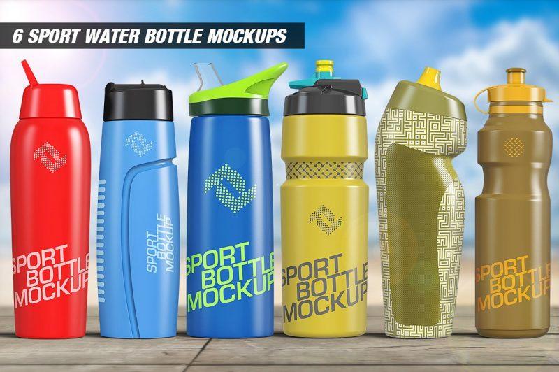 6 water Bottle mockup PSD