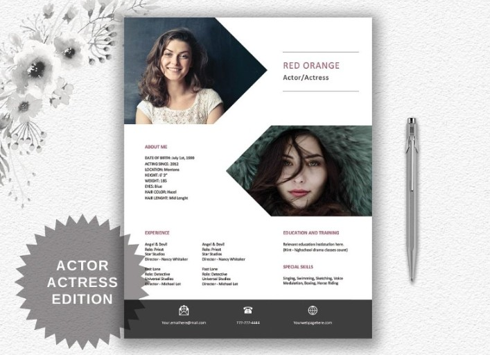Actress Creative Personalized Resume Actor Resume Template With Photo Modern Resume Word Template Writing Tips Instant Download