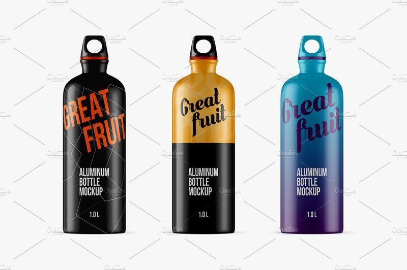 Aluminium Sports Bottle Mockup