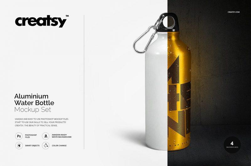 Aluminium Water Bottle Mockup PSD