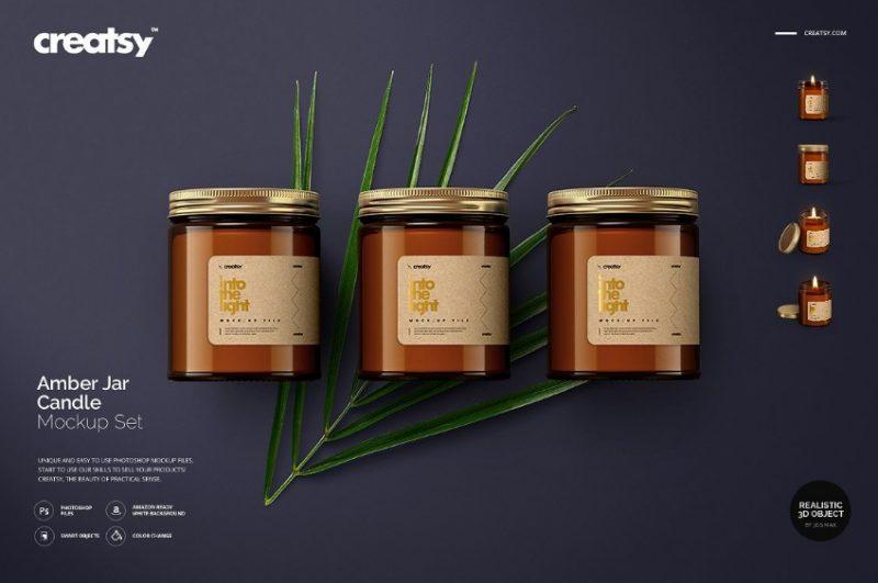 Amber Jar Candle Mockup PSD