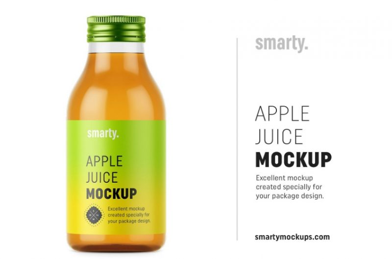 Apple Juice Bottle Mockup PSD