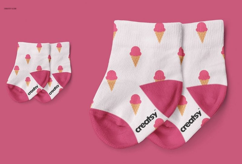 Baby Socks Mockup PSD