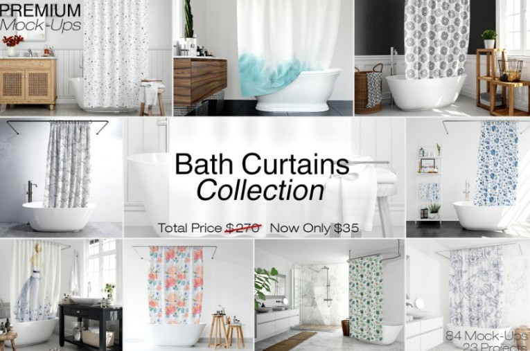 Bath Curtains Mockup Pack