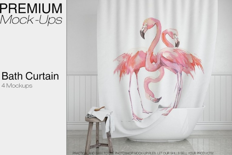 Bath Curtain Mockup 3D