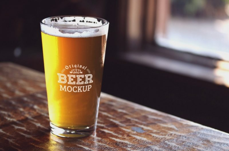 Beer Glass Mockup PSD