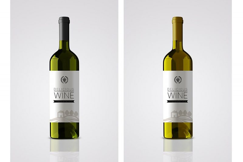Bottle Wine Label Mockup PSD