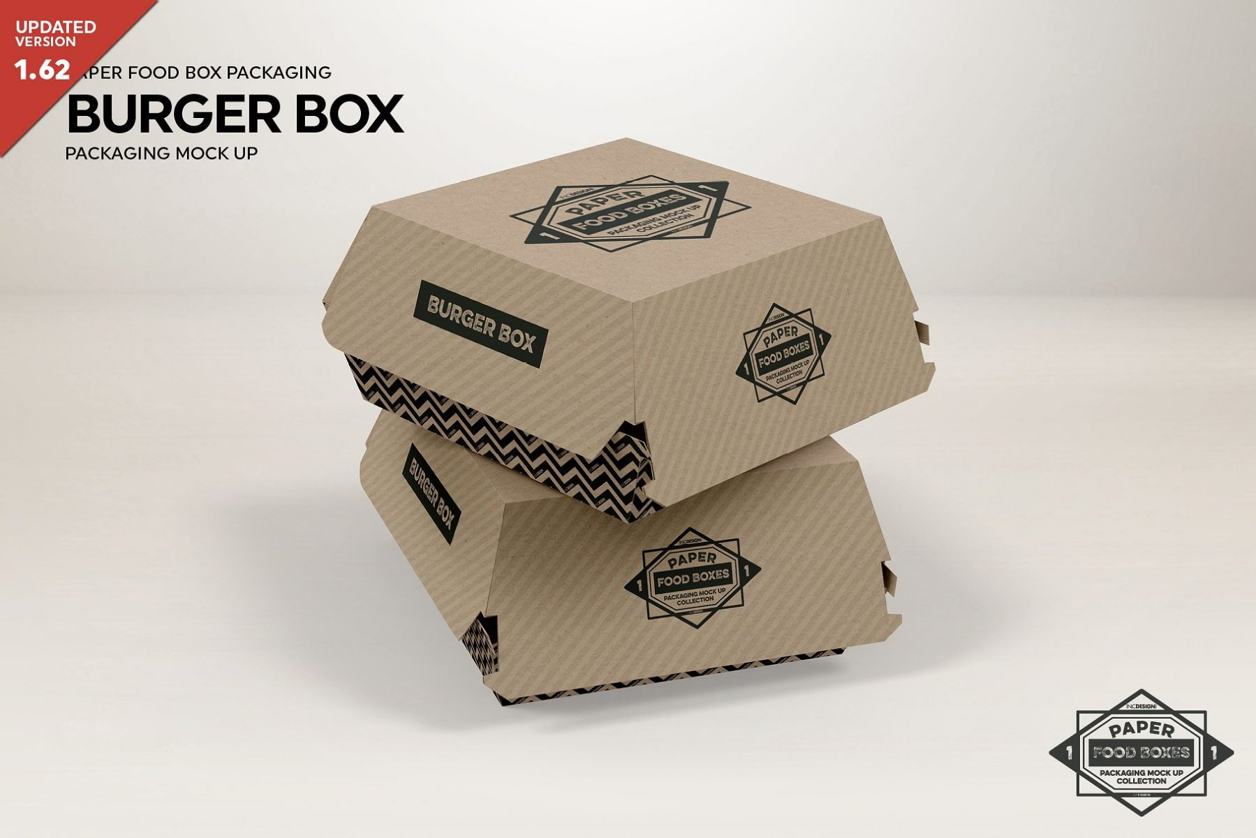 Burger Box Packaging Mockup PSD