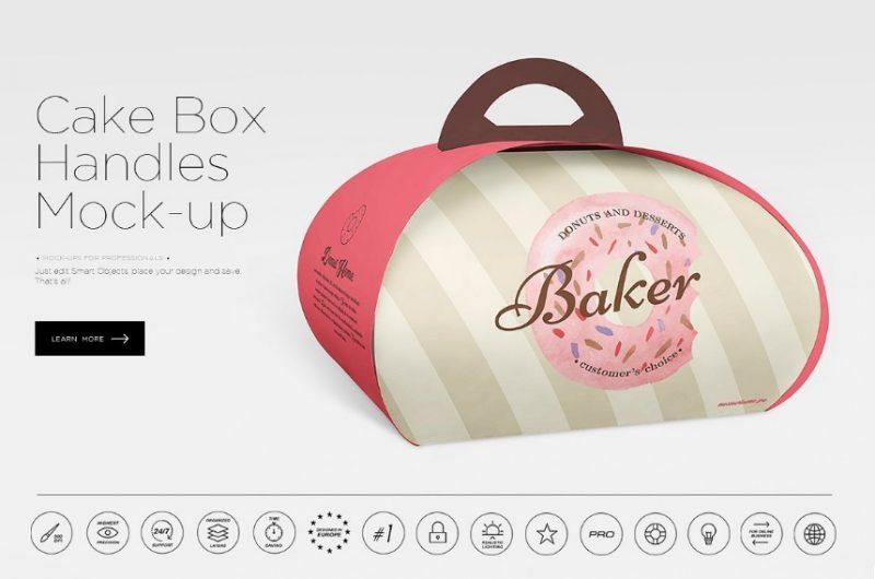 Cake Box Handles Mockup PSD