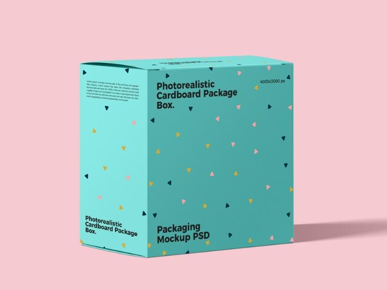 Cardboard Box Packaging Mockup PSD