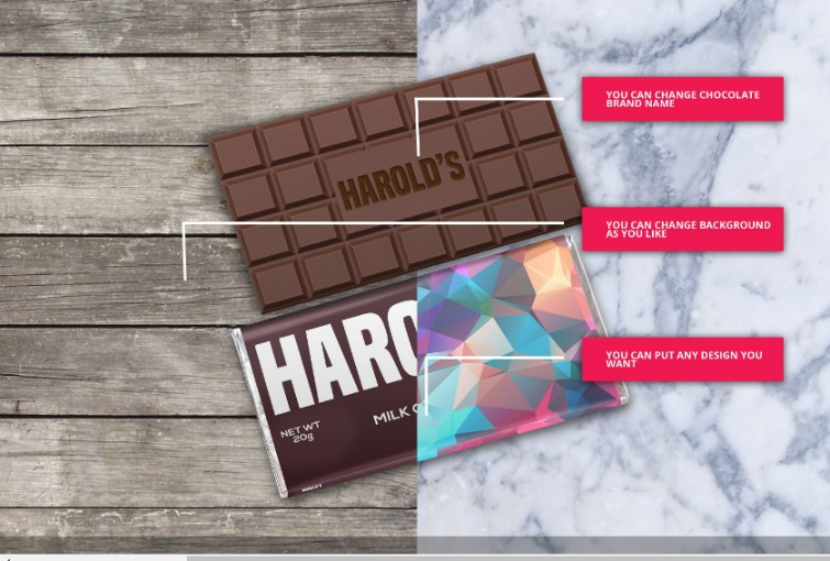 Chocolate Bar and Packaging Mockup