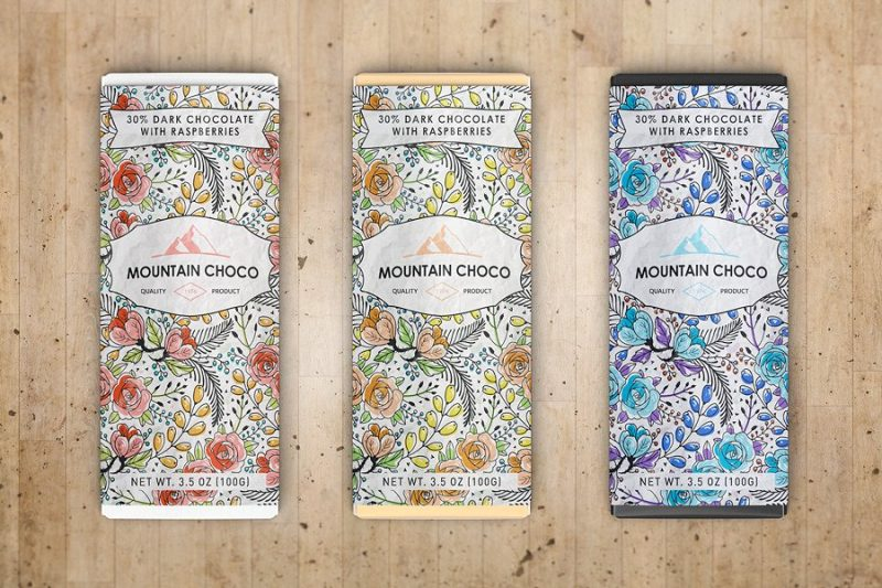 Chocolate Wrapper Packaging Mockup