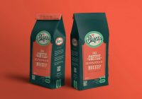 Coffee Pouch Packaging Mockup PSD