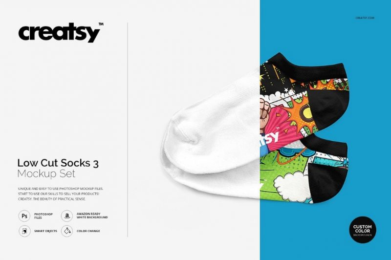 Creative Low Cut Socks Mockup