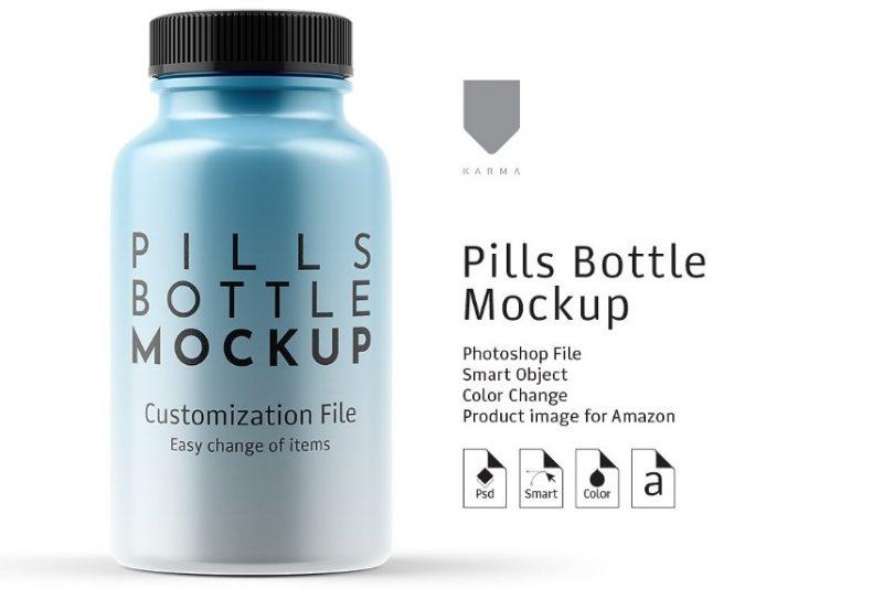 Customizable Pills Bottle Mockup