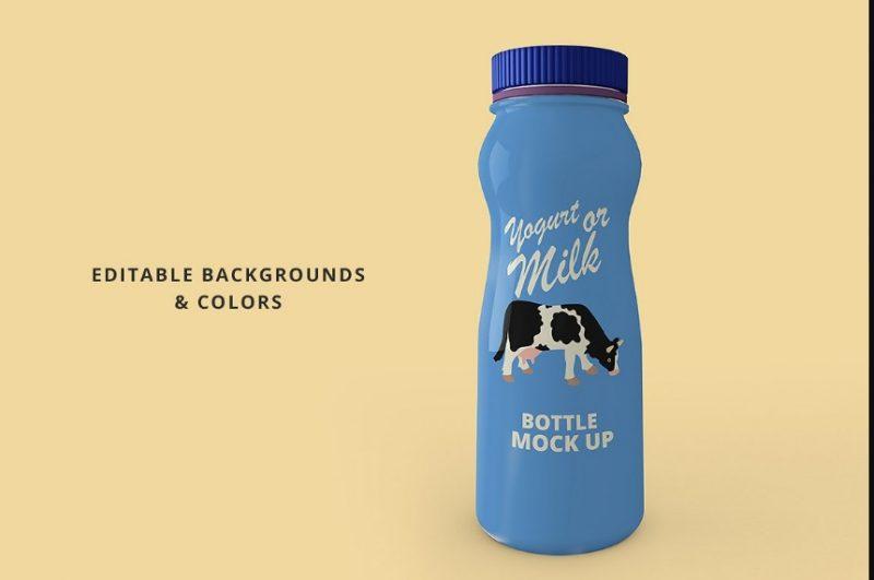 Customizable Yogurt Bottle Mockup