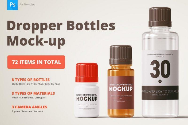 Dropper Bottles Mockup PSD