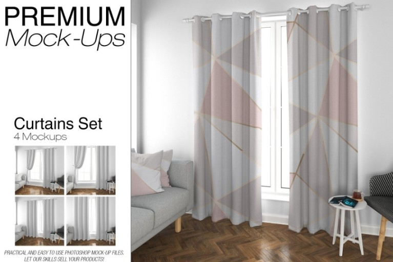 Easy Editable Curtains Mockup PSD