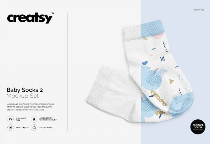 Editable Baby Socks Mockup PSD