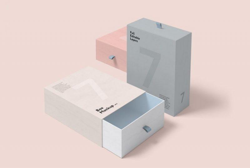Editable Box Packaging Mockup PSD