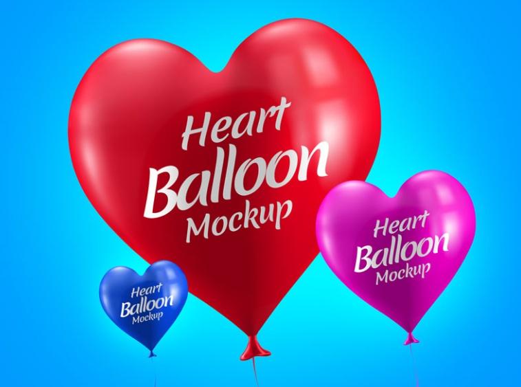 Editable Heart Balloon Mockup PSD