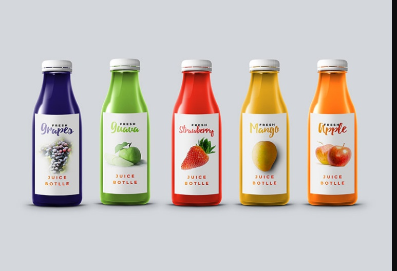 Editable Juice Bottle Mockup