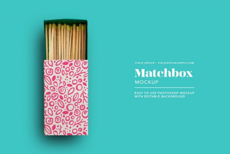 Editable Matchbox Mockup PSD