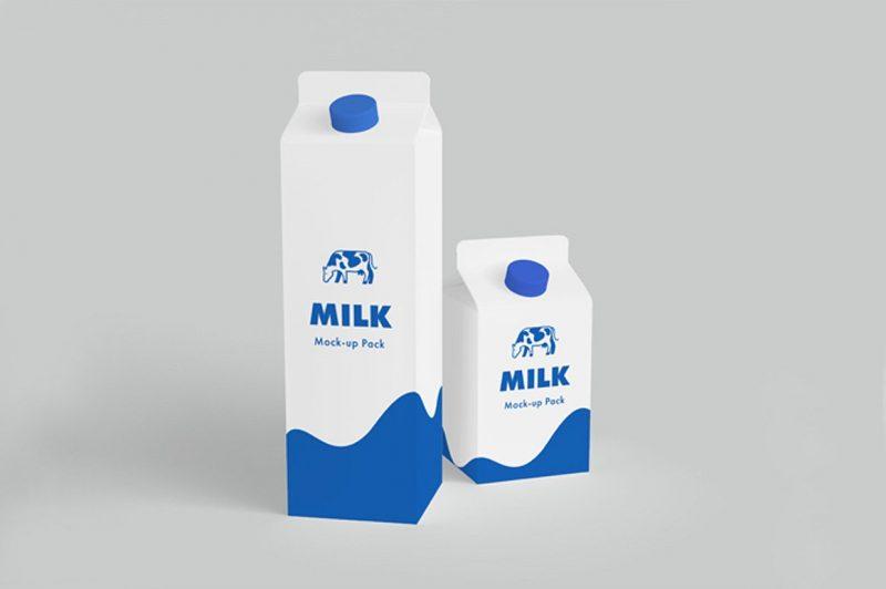 Editable Milk Carton Mockup PSD