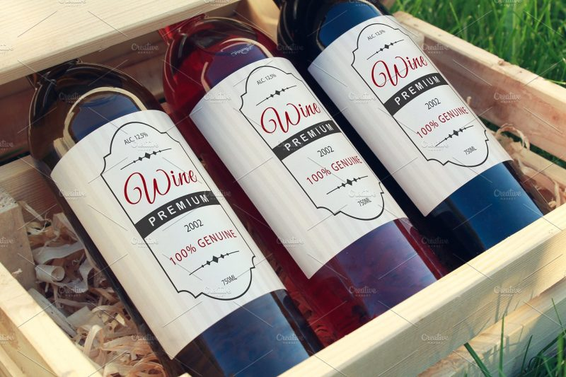Editable Wine Label Mockup
