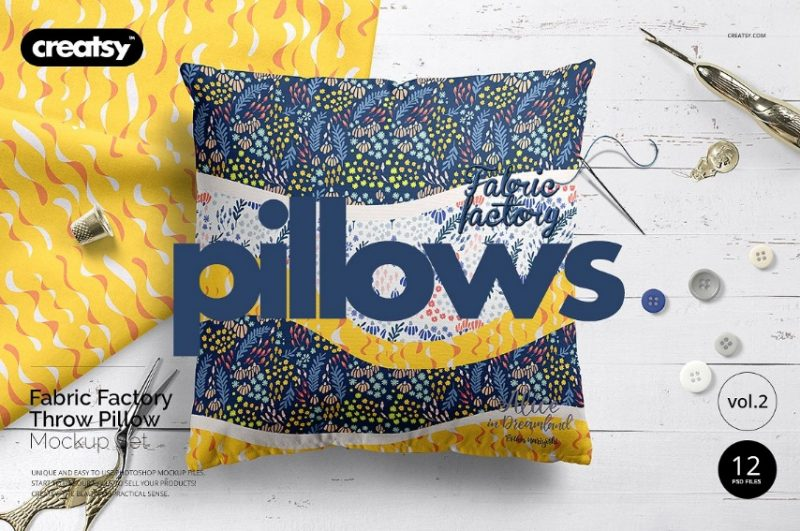 Fabric Pillow Mockup PSD