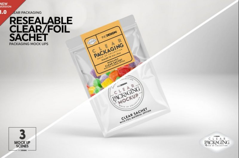 Foil Sachet Packaging Mockup PSD