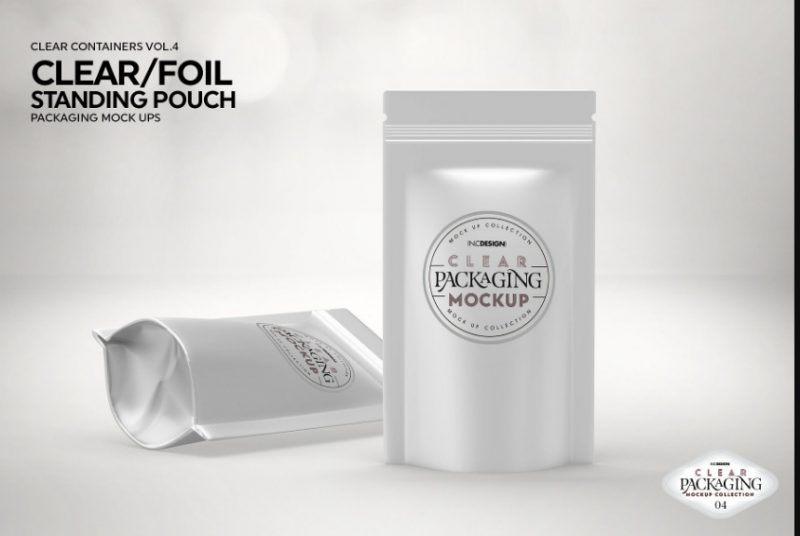 Foil Stand Up Pouch Mockup PSD