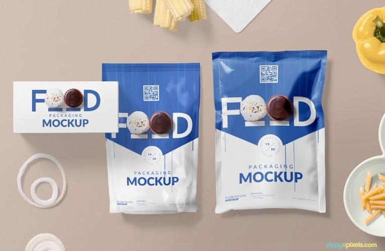 Food Sachet Packaging Mockup PSD