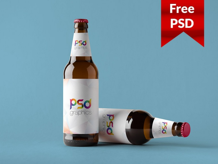Free Beer Label Mockup PSD
