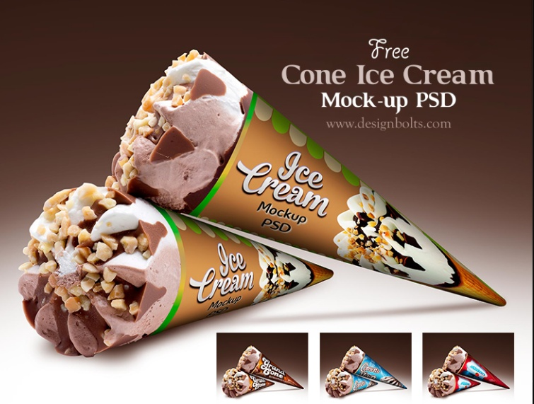 Free Cone Ice Cream Mockup PSD Download