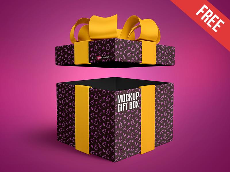Free Gift Box Presentation Mockup