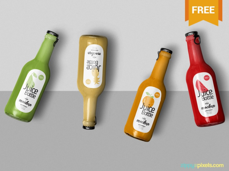 Free Juice Bottle Branding Mockup