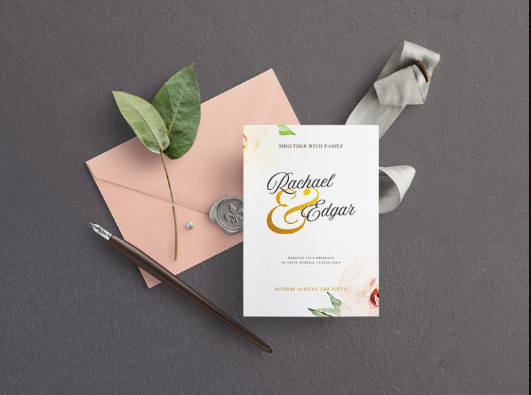 Free Wedding Envelope Mockup PSD