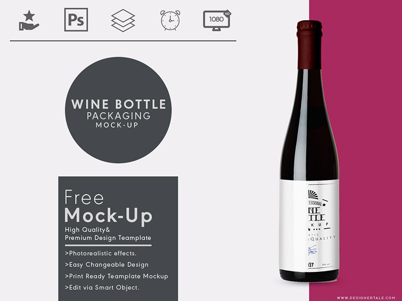 Free Wine Bottle Label Mockup