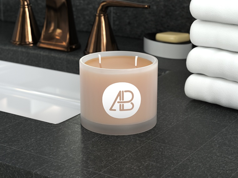 Frosted Candle Mockup PSD