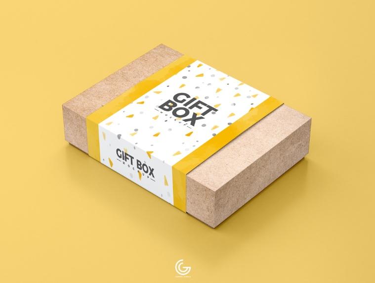 Gift Box Packaging Mockup