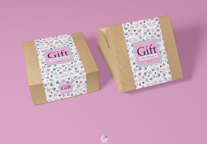 Gift Packaging Box Mockup PSD