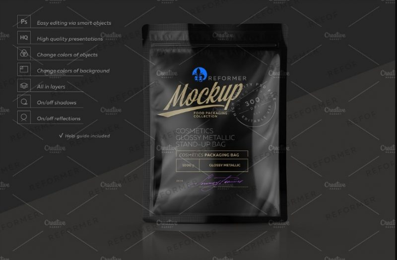 Glossy Coffee Packaging Mockup PSD