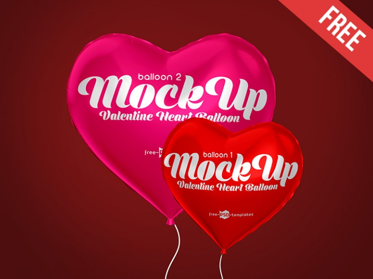 Heart Balloon Mockup PSD