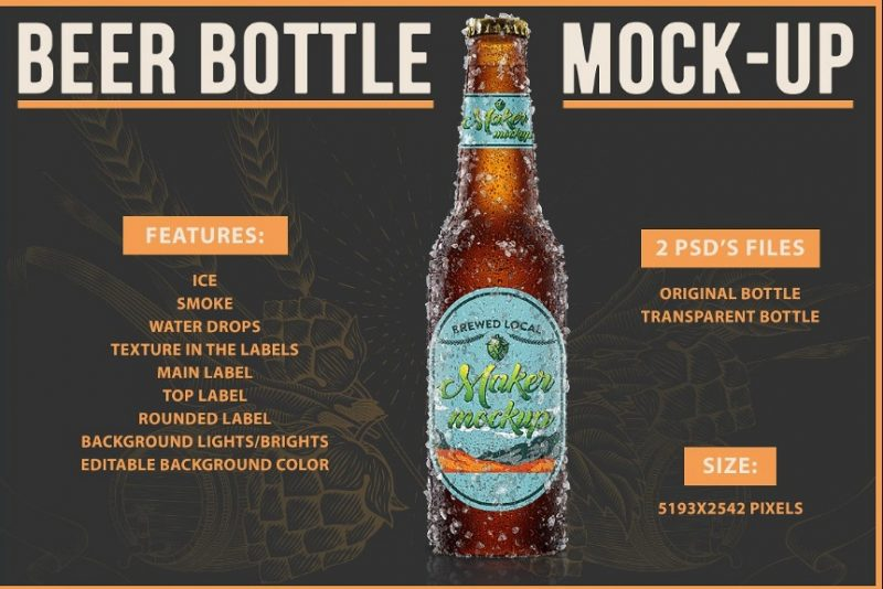 High Quality Beer Bottle Mockup