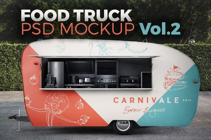 High Resolution Food Truck Mockup PSD