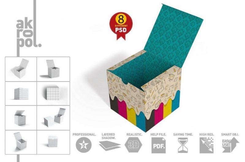 High Resolution Square Box Mockup PSD