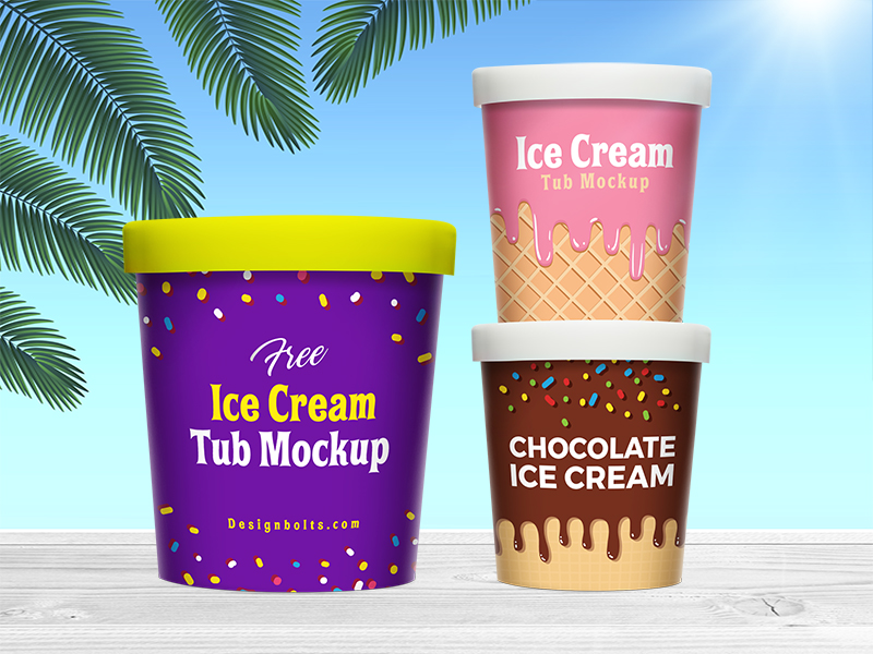 Ice Cream Bucket Mockup Free