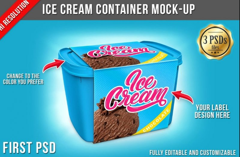 Ice Cream Container Mockup PSD