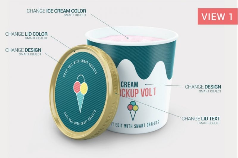 Ice Cream Packaging Mockup PSD